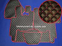 Автомобильные коврики из экокожи DAF XF 95 АКП чёрно-красные