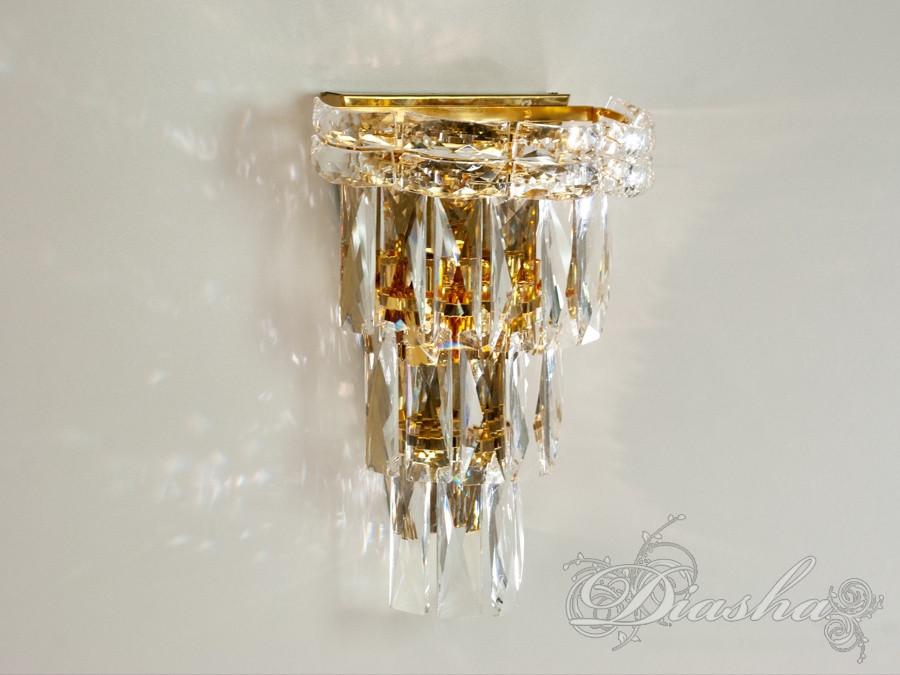 Современный хрустальный настенный светильник 19013/B-3-G