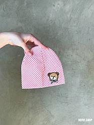 """Шапочка """"Мишутка"""" для новорожденных (3-9 мес), розовая."""