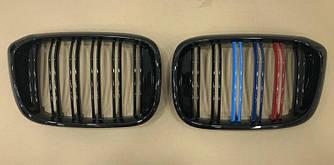 Решетки радиатора ноздри BMW X4 G02 2018+ (черный глянц + м колор)