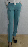 Однотонные классические женские брюки, бирюзовые нарядные, офисные, повседневные