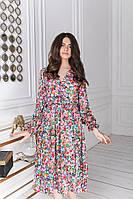 Женское платье на запах под пояс ниже колен 42-44, 46-48, 50-52, 54-56, 58-60