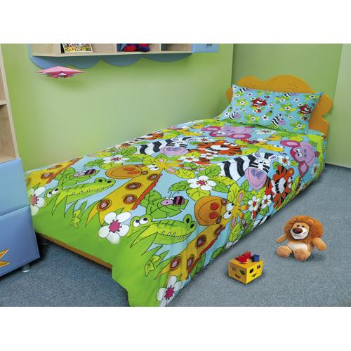 Недорогой комплект постельного белья детский  «ЗЕБРА-КАЙМАН» со склада, бязь.