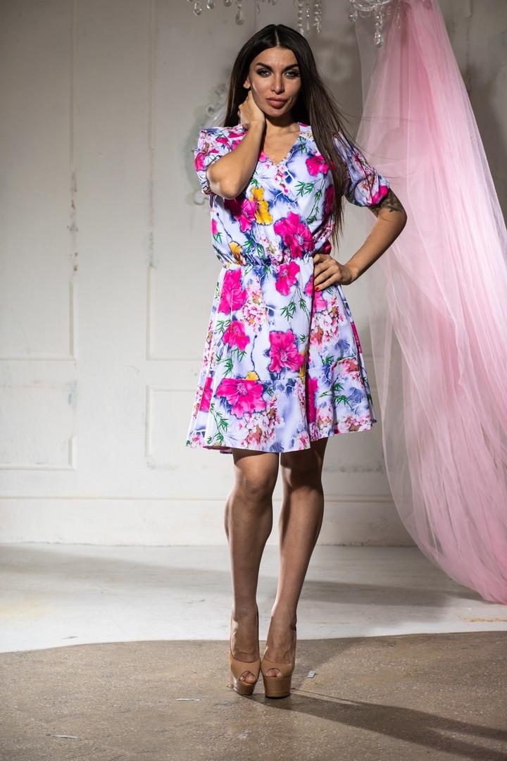 Платье летнее цветное и пышной юбкой, четыре цвета, р.46-48,50-52 Код 1020В