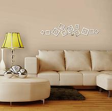 Набор акриловых декоративных контуров квадратов, серебро, 21 элемент