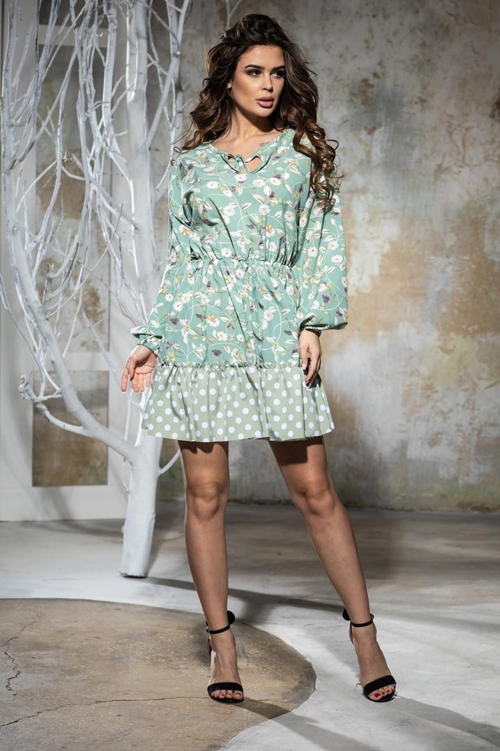 Комбинированное летнее платье с пышной юбкой, 5 цветов, р.44-46,48-50 Код 1005В