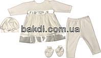Крестильное нарядное платье костюм рост 62 2-3 мес велюр молочный на девочку комплект костюмчик одежда для крещения крестин новорожденных малышей М765
