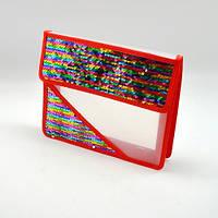 """Детская папка на липучке для тетрадей """"Alder"""" с блестками, размер 20,5х23,5см, красная, пластик, папки для тетрадей, папки для труда, папки для бумаг"""