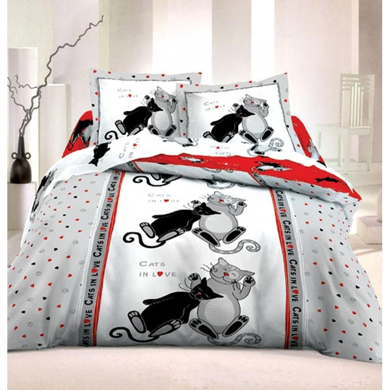"""Комплект постельного белья подростковый """"Коты"""", бязь."""