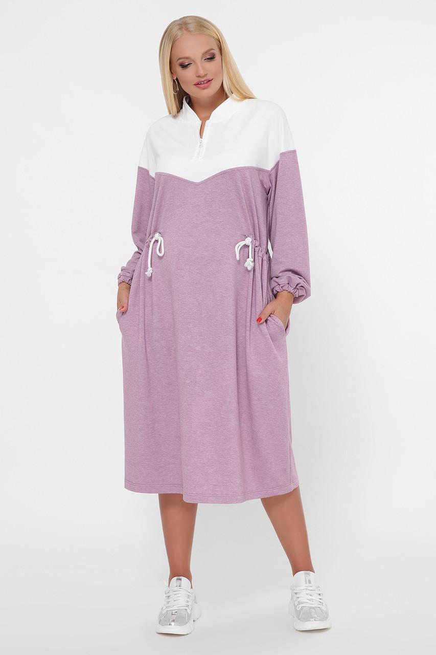 Розовое свободное спортивное платье большие размеры 0303 Платье спорт