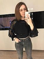 Женская черная шифоновая блуза Amodediosa