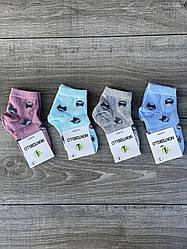 Шкарпетки з котиками дитячі люрекс бамбук Montebello для дівчаток 3,5,7,9,11 років 12 шт в уп мікс кольорів