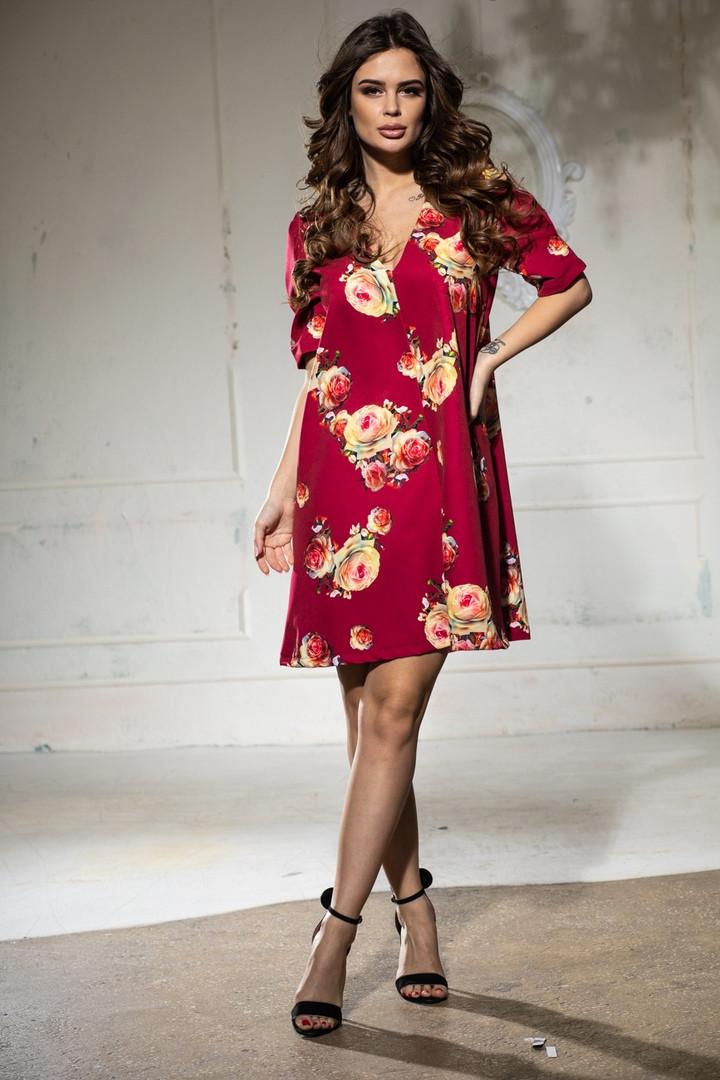 Вільне плаття А-силуету середньої довжини 9 кольорів, р. 46-48,50-52 Код 1018В