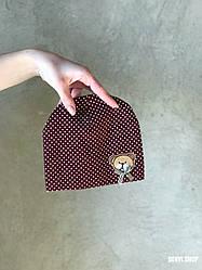"""Шапочка """"Мишутка"""" для новорожденных (3-9 мес), коричневая."""