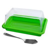 Масленка R83519 пластик, с ножом для масла, голубой, 17*10*7см, масленка, столовая посуда, лимонницы, сырницы, посуда, посуда кухонная и аксессуары