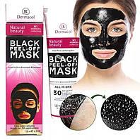 Черная маска для лица Dermacol Black Peel Off Mask 120 ml, против угрей и черных точек, маски для лица дома, маски