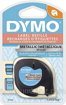 Лента пластиковая, серебряный металлик, 12мм х 4м DYMO для принтера LetraTag