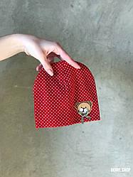 """Шапочка """"Мишутка"""" для новорожденных (3-9 мес), красная."""