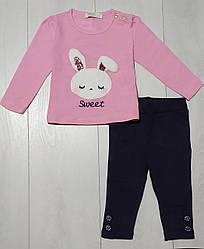 Комплект для девочки демисезонный, футболка длинный рукав+лосины (нашивка Зайчик), Breeze (размер 74)
