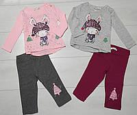 Комплект для девочки демисезонный, футболка длинный рукав+лосины( Зайка в шапке), Breeze