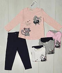 Комплект для девочки демисезонный, футболка длинный рукав+лосины (пайетки, Мишка), Breeze (размер 104)