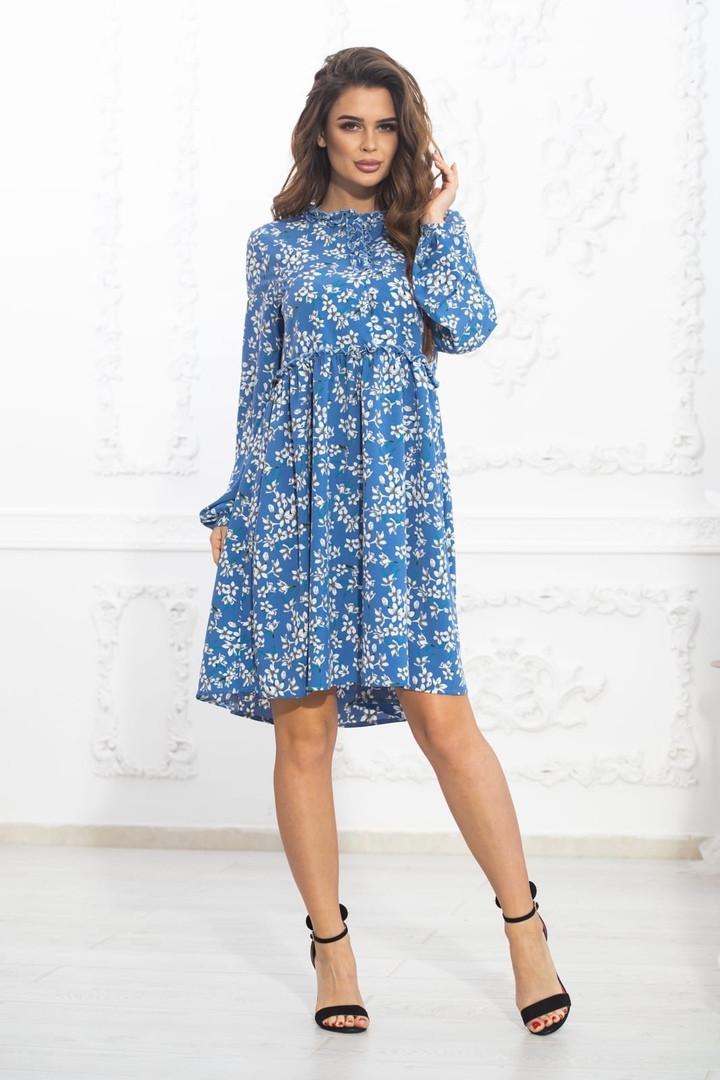 Комбинированное летнее платье на кокетке с пышной юбкой, 5 цветов, р.44-46,48-50,52-54 Код 1004В