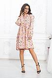 Комбинированное летнее платье на кокетке с пышной юбкой, 5 цветов, р.44-46,48-50,52-54 Код 1004В, фото 5