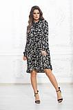 Комбинированное летнее платье на кокетке с пышной юбкой, 5 цветов, р.44-46,48-50,52-54 Код 1004В, фото 4