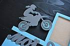 Полка для кубков, медальница мои достижения с фоторамками. Мотокросс, мотоспорт (любой спорт, цвет и текст), фото 2
