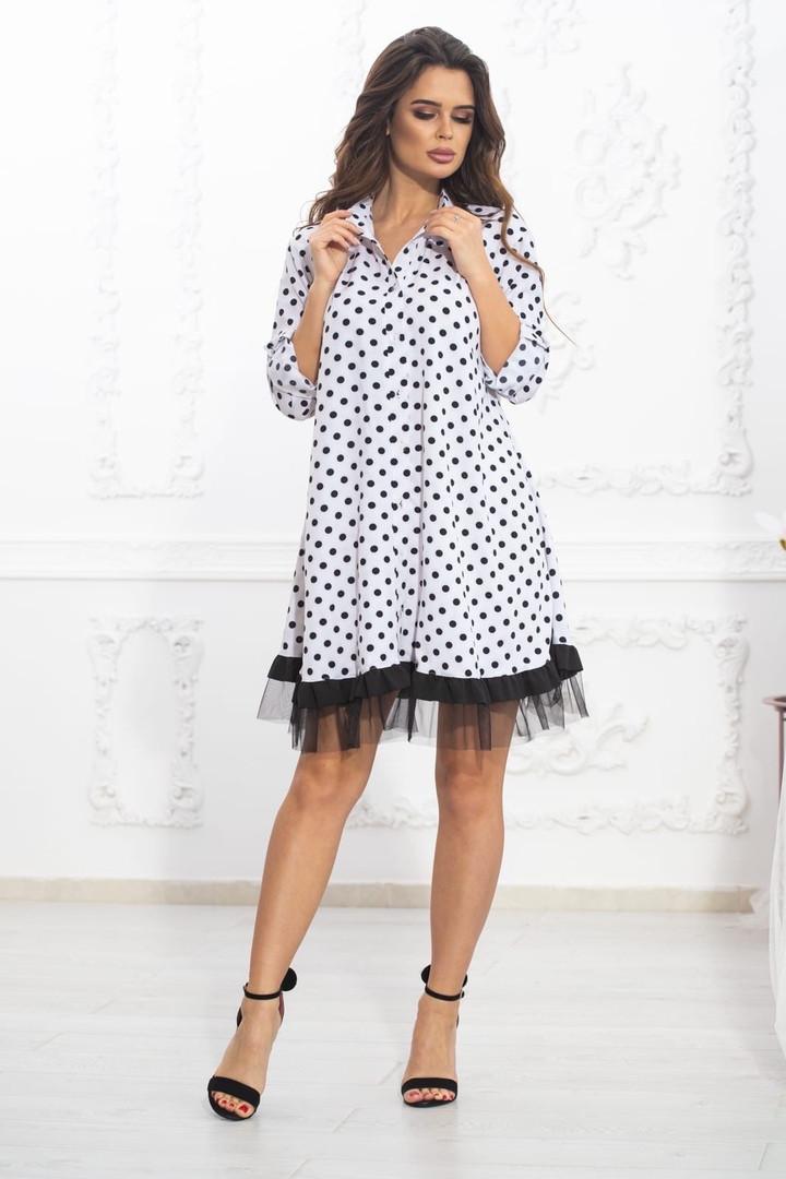 Свободное платье А силуэта средней длины с оборкой из сеточки 5 цветов, р.42-44,46-48,50-52  Код 1002В