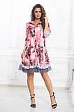 Свободное платье А силуэта средней длины с оборкой из сеточки 5 цветов, р.42-44,46-48,50-52  Код 1002В, фото 3