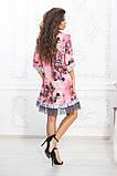 Свободное платье А силуэта средней длины с оборкой из сеточки 5 цветов, р.42-44,46-48,50-52  Код 1002В, фото 4