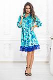 Свободное платье А силуэта средней длины с оборкой из сеточки 5 цветов, р.42-44,46-48,50-52  Код 1002В, фото 5