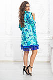 Свободное платье А силуэта средней длины с оборкой из сеточки 5 цветов, р.42-44,46-48,50-52  Код 1002В, фото 6