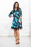 Свободное платье А силуэта средней длины с оборкой из сеточки 5 цветов, р.42-44,46-48,50-52  Код 1002В, фото 7