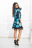 Свободное платье А силуэта средней длины с оборкой из сеточки 5 цветов, р.42-44,46-48,50-52  Код 1002В, фото 8