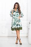 Свободное платье А силуэта средней длины с оборкой из сеточки 5 цветов, р.42-44,46-48,50-52  Код 1002В, фото 9