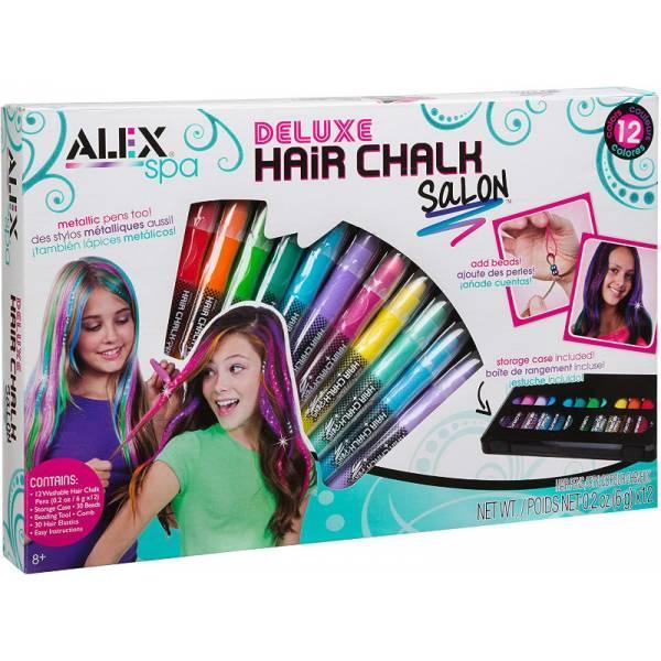 Alex Мел для волос мелки карандаши в кейсе 738X Spa Deluxe Hair Chalk Salon Girls Fashion Activity