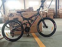 """Спортивный велосипед 26 дюйма Azimut Shock Shimano рама 18"""" черно-красный"""