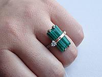 Серебряное кольцо с золотой пластинкой и малахитом, фото 1