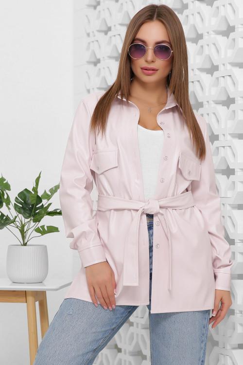 Женская кожаная рубашка с поясом нежно-розовая