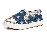 Слипоны мокасины детские демисезонные для девочки. Кеды джинсовые летние Звезды (синие)