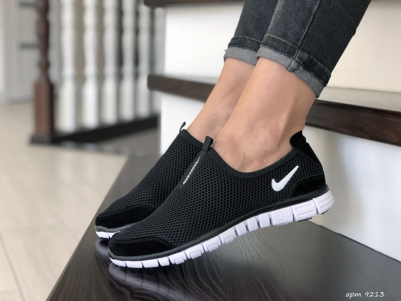 Женские кроссовки летние Nike Free Run 3.0,черно белые