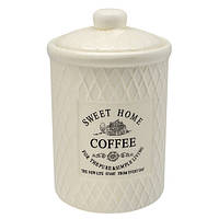 "Банка для кофе Stenson ""Кантри"" объем 650мл, размер 10,5х10,5х17см, белая, овальная, Банки для хранения"