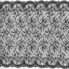 Ажурное французское кружево шантильи (с ресничками) черно-синего цвета шириной 150 см, длина купона 3,0 м.