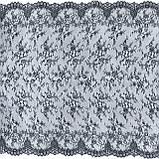 Ажурне французьке мереживо шантильї (з віями) чорно-синього кольору шириною 150 см, довжина купона 3,0 м., фото 5