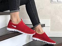Красные женские, подростковые кроссовки в стиле Nike Free Run 3.0