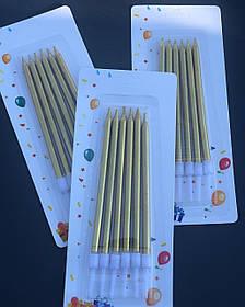 Свечи для торта набор 6 шт. Золотые