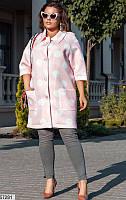 Кардиган-пальто женский весна-осень неопрен 48-54 р.,цвет розовый/белый