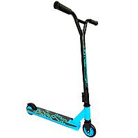 Детский двухколесный трюковый самокат для начинающих Scooter 051 (черный с синим)